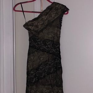 Bebe black and gold lace dress